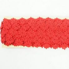 Vintage Red Guipure Daisy Trim